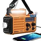 Emergency Weather Radio, Solar Hand Crank 5000mAh Battery Operated Radio,Outdoor Portable AM FM Shortwave NOAA Alert Radio with USB Charger, 5 Ways Powered,Flashlight,Reading Lamp,SOS Alarm for Home