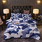 Holawakaka Boys Twin Size Camouflage Comforter Set, Kids Teens Camo Quilted Bedding Sets Army Bedspread (Blue, Twin)…