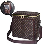 CHSZZP Lunch Bags for Women, Lunch Box Insulated Cooling Tote Bags Cooler Thermal Bag Reusable with Waterproof PU Leather, Adjustable Shoulder Strap Bags for Outdoor Picnic Hiking Work(Brown)