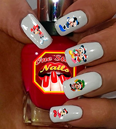 Christmas Mickey and Minnie Waterslide Nail Decals by One Stop Nails V2A.