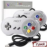 2 Pack New SNES Super Controller, iNNEXT Retro USB Super Classic Controller for PC Mac Linux Raspberry Pi 3 Sega Genesis Higan (Multicolored Keys)