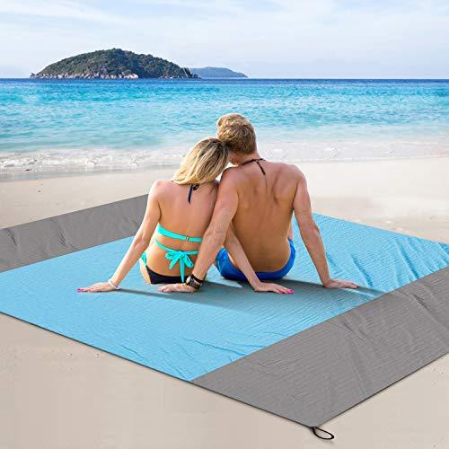 FYLINA Sandfree Beach Blanket Lightweight - Oversized Waterproof Blanket Mat 7'x9' - Quick Drying Heat Resistant Outdoor Picnic Beach Mat