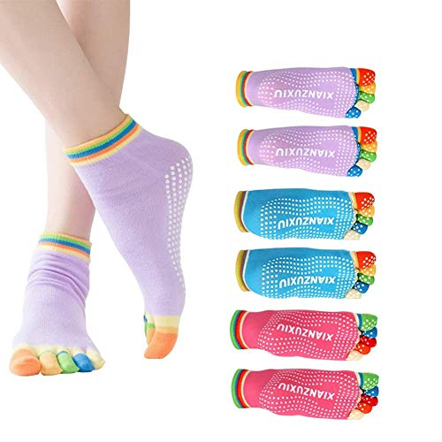 EQLEF 3 Coppie Womens presa antiscorrimento Workout Yoga Socks colore casuale
