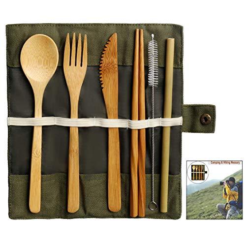 iwobi Bambou Couverts Set, Kit Couverts écologique Ustensiles de Voyage...