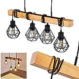 Suspension Barbengo en bois et métal noir, 4 lampes pendantes à hauteur...