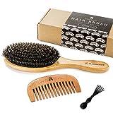 Cepillo de cerdas de jabalí y peine de madera.  MUY SUAVE.  Este conjunto hace que el cabello ...