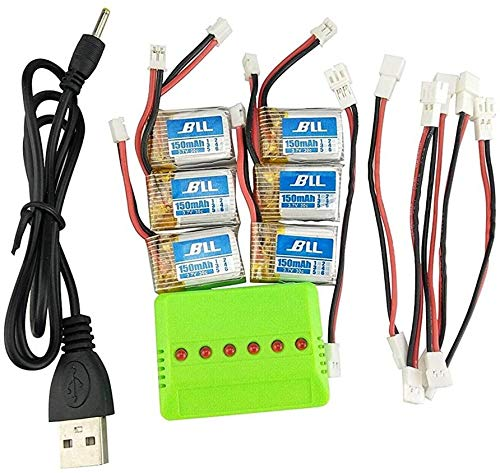 Fytoo 6PCS Batterie Lipo Ricaricabili (3,7V 150mAh Lipo) + Caricatore 6in1 per Rc Droni...