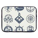 Funda para portátil con Logotipos náuticos monocromáticos Vintage, maletín para portátil, Estuche de Viaje Suave para Tableta, 13 Pulgadas