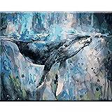 Animal baleine Dans la merAnimal baleine Dans la mer5D DIY Peinture numéro_PréimpressionToile_Enfants Adultes peint à la Main Peinture murale Chiffon Peinture Salon Décoration—40x50cm sin Marco
