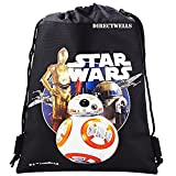 Disney Star Wars Robot BB Authentic Licensed Drawstring Bag Backpack (Black)
