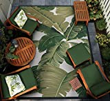 Couristan Dolce Palm Lily Indoor/Outdoor Area Rug, 5'3' X 7'6', Hunter Green/Ivory