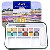 Artecho Lot de Peintures Pour Aquarelle Avec Pinceau Inclus, 12 Couleurs Metallique,...