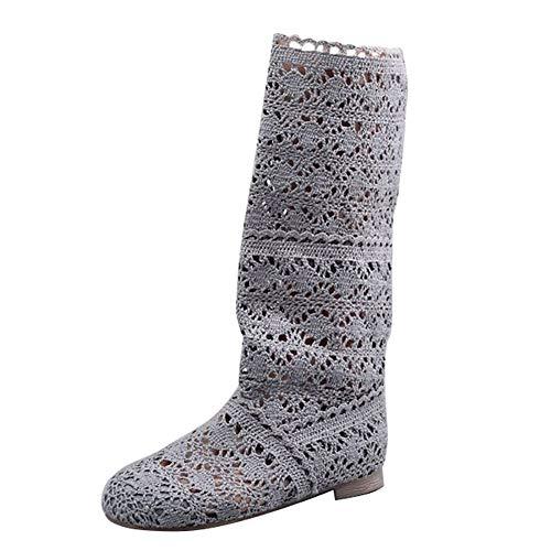 Mujer Verano Otoño Sandalias de Cuña Platform Malla Alto Boots Respirable Encaje Hueco Redonda Toe Zapatos Botas Gris EU 36