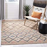 Safavieh Kilim Collection KLM753A Handmade Jute & Cotton Area Rug, 4' x 6', Natural/Blue