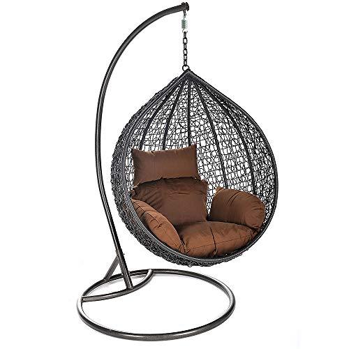 Home Deluxe - Polyrattan Hängesessel - Cielo - inkl. Gestell, Sitz- und Rückenkissen