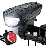 Vont 'Breeze' Rechargeable Bike Light Set, Bicycle Light, Instant Install Without Tools, Fits All Bikes - 3 Modes, Bike Lights Front and Back Illumination - Waterproof, Lightweight, Durable