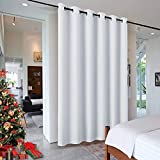 RYB HOME Sliding Door Curtains Room Divider, Heavy Duty Grommet Curtain Vertical Blind Privacy Protect Soundproof for Shared Space Patio Door Office Foyer Doorway, W 120 x L 96, Grayish White