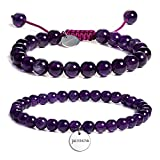 JADENOVA 6/8mm Natural Amethyst Gemstone Bracelet Elastic Stretch Yoga Beaded Bracelet Bangle Healing Crystal Bracelet Couples Gifts for Men Women (2pcs Bracelet Set)