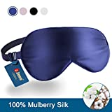 Natural Silk Sleep Mask, Super-Smooth & Soft Eye Mask with Adjustable Strap, Blindfold, Perfect Blocks Light, Pressure Free for A Full Night's Sleep (Navy Blue)