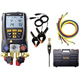 Testo - 0563 2557 557 I Digital Manifold Kit for air conditioning, refrigeration systems and heat pumps I 4-valve HVAC gauge with Bluetooth and set of 4 hoses