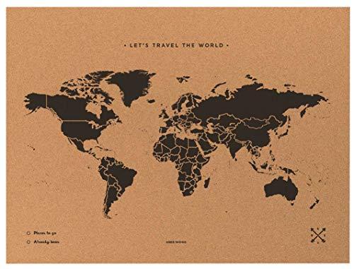 Miss Wood Map XL-Carte du Monde en LiÈ Ge 60x90 cm Noir