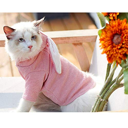 ANIAC Pet Hoodie Cat Rabbit Outfit with Bunny Ears Cute Sweatshirt Spring and Autumn Puppy Knitted Sweater Kitty Soft Knitwear (Small, Pink)