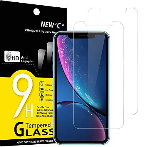 NEW'C 2 Pezzi, Vetro Temperato Compatibile con iPhone 11 e iPhone XR (6.1'), Pellicola Prottetiva Anti Graffio, Anti-Impronte, Durezza 9H, 0,33mm Ultra Trasparente, Ultra Resistente