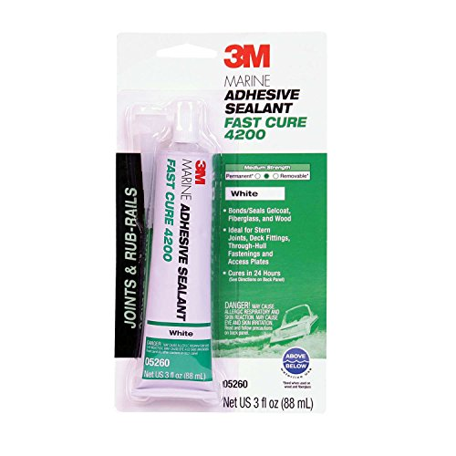 3M Marine Adhesive Sealant Fast Cure 4200 (05260)  Semi-Permanent Flexible Adhesive Sealant for Boats and Marine Applications  White  3 Ounces