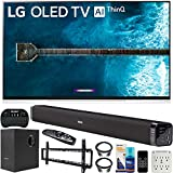 LG OLED65E9PUA 65-inch E9 4K HDR OLED Glass Smart TV with AI ThinQ (2019) Bundle with Deco Gear 60W Soundbar with Subwoofer, Wall Mount Kit, Deco Gear Wireless Keyboard and 6-Outlet Surge Adapter