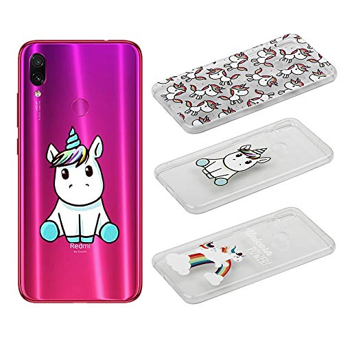 [3 Pack] Funda para Xiaomi Redmi Note 7 /Xiaomi Redmi Note 7 Pro, Weideworld 3D Patrón Flexible Ultra Slim TPU Silicona Back Carcasa Funda para Xiaomi Redmi Note 7, Unicornio