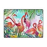 MNSRUU Area Rugs - Tropical Pink Flamingo Non Slip Carpet for Living Room, Indoor and Outdoor, 4.8 x 6.7 Feet