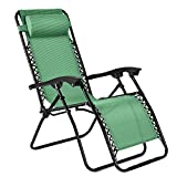 Flexzion Zero Gravity Chair - Anti Gravity Outdoor Lounge Patio Folding Reclining Chair and Textilene Seat w/Footrest & Adjustable Pillow for Yard Beach Camping Garden Pool Lawn Deck (1 Pack, Green)