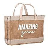Creative Brands G1338 Faithworks - Farmers Market Jute & Canvas Tote-Style Bible Cover, 11 x 8-Inch, Amazing Grace