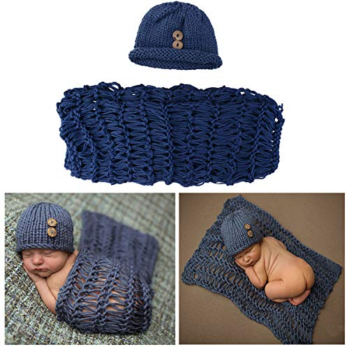 ISOCUTE Newborn Photography Wraps Blankets and Hat Beanie Baby...