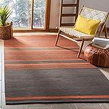 Safavieh Kilim Collection KLM952C Handmade Flatweave Wool Area Rug, 8' x 10', Dark Grey / Orange
