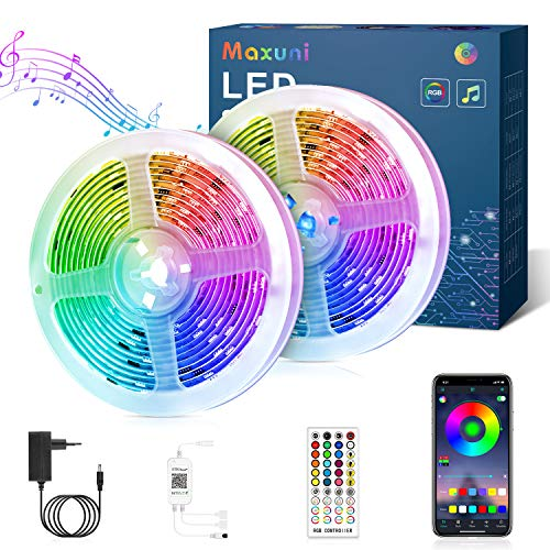 Striscia Led 12M, Maxuni Led Striscia di Illuminazione Controllata da App Bluetooth, RGB Luminose Luci Led Colorati Sincronizza con la Musica Adatto per Camera da Letto, TV e ecc