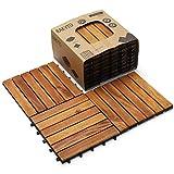 Hard Wood Interlocking Flooring Tiles (Pack of 10, 12' x 12'), Solid Wood Acacia Deck Tiles Interlocking, Patio Tiles Outdoor Interlocking Waterproof All Weather (6 Slat-Natural Color)