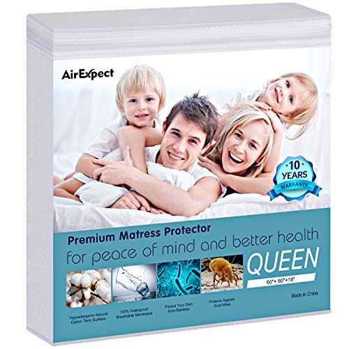 AirExpect Waterproof Mattress Protector Queen Size 100% Cotton Hypoallergenic Breathable Mattress Pad Cover, 18' Deep Pocket, No Vinyl - 60' x 80'