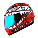 WOW Motorcycle Full Face Helmet Street Bike BMX MX Youth Kids Shark Red
