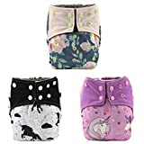 3 AIll in One Night AIO Cloth Diapers Nappy Bulit in Insert Reusable Washable for Girls (Flowers Pack)
