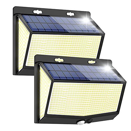 468 LED Luce Solare Esterno Super luminose Faretti Solari a Led da Esterno Lampada con Sensore di Movimento 3 Modalit IP65 Impermeabile per Giardino Parete Risparmio Energetico 2 Pezzi