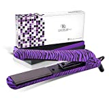Royale 100% Ceramic Tourmaline Ionic Flat Iron Hair Straightener | 2 in 1 hair straightener and curler | Single Pass Floating Plates | Ion Tech Anti-Static & Anti-Frizz -1.25' Purple Zebra Soft Touch