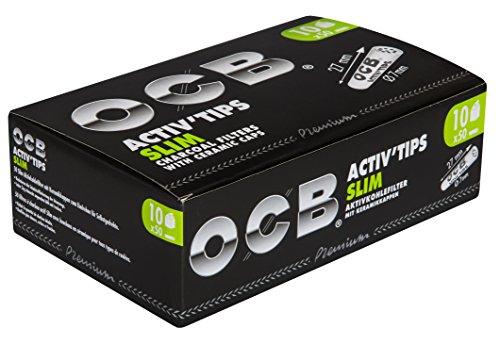 OCB ActivTips Slim - Filtros de carbón Activo con Tapas de cerámica (10 x 50 Unidades)