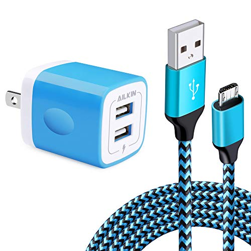 Micro USB Wall Charger Box, USB Brick S7/S6 Edge Fast Charger, Charger Adapter Plug for Samsung Galaxy J7/J8/J6 Cord with Charger Cube Dual Port & 6.6 Ft Micro USB Cable Android Phone, HTC, LG Stylo