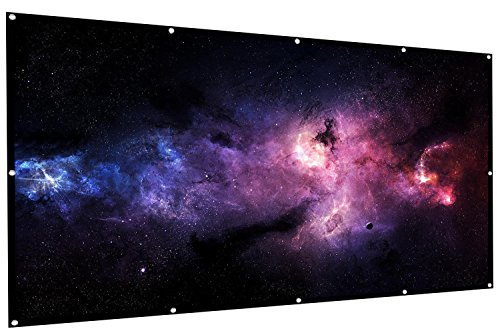 Projector Screen by Office Soldier - 100 inch 16:9 HD Foldable and Portable Anti-Wrinkle Material with Front and Rear Projection and Wall Hanging Hooks - Indoor Home Movie Theater or Outdoor Cinema