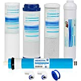 Geekpure Universal Compatible 5 Stage Reverse Osmosis Replacement Filter Set with 100 GPD Membrane -10 Inch