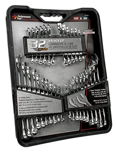 Performance Tool W1099 SAE and Metric Set | Premium Mirror Polished Chrome Vanadium Steel| Large Size Organizer Tray| Stubby & Standard Combination Wrenches | 32pc set