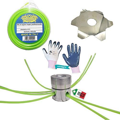 HURRICANE Kit Testina Decespugliatore Universale Multifilo in Alluminio Arizona con Vite sotto,...