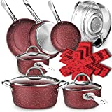 Dealz Frenzy Stone Ultra Non-Stick Induction Cookware Set, 16 Pieces Marble Mineral Coating Pots and Pans Set, Stainless Steel Handle,Durable, Scratch Resistance, Dishwasher Safe, Oven Safe Red
