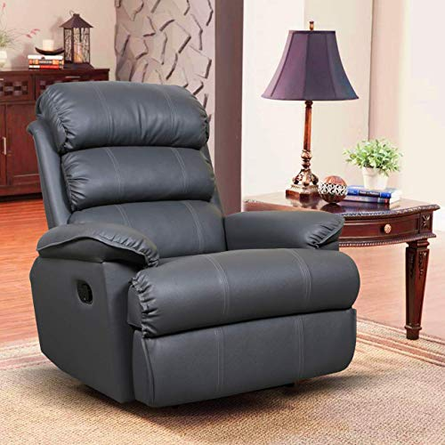 Alcanes Franklin Recliner, Ultra Comfortable and Durable Ergonomic Single Seat Reclining Sofa, Living Room Recliner Chair with Thickened Padded Arm/Back Leatherette, Grey Color
